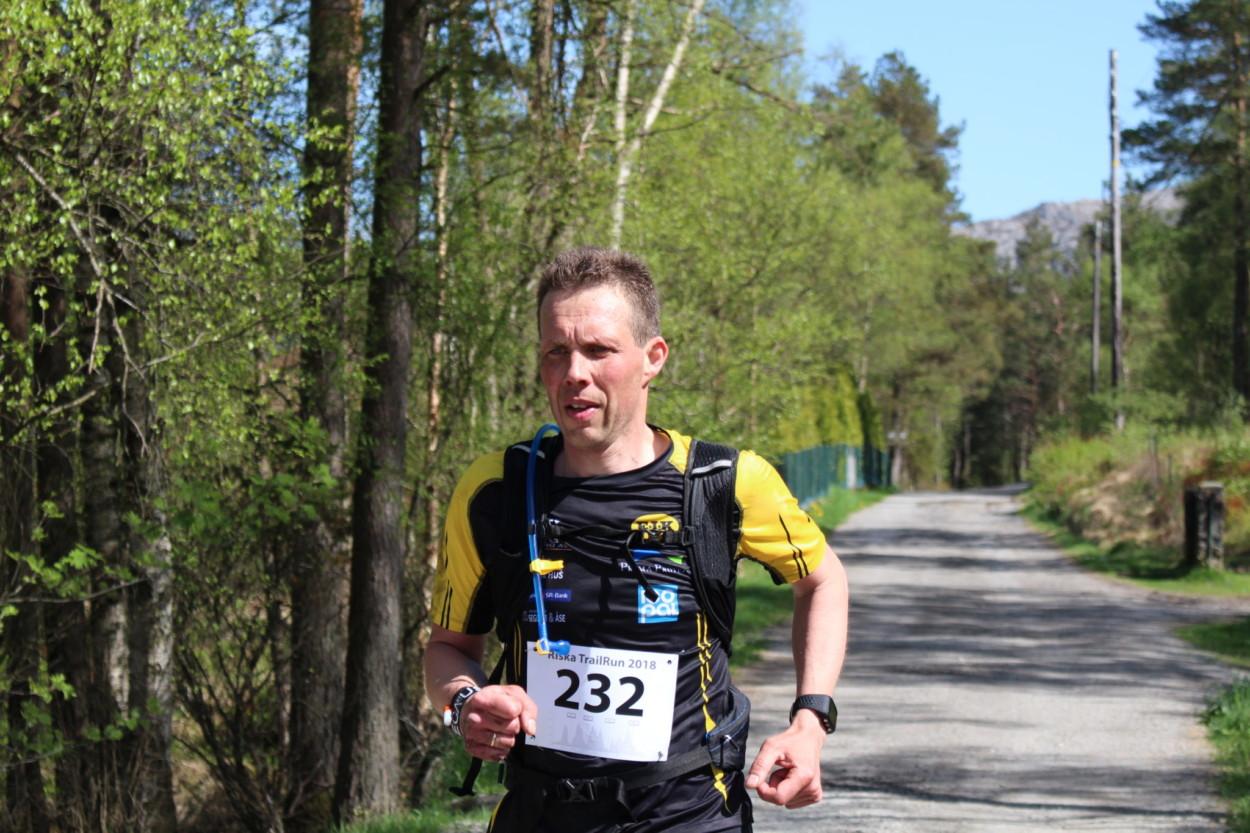Olav Magne Egebakken deltok på Riska TrailRun Maraton 2018, 12. mai.